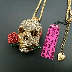 Betsey Johnson Flower & Skull Necklace